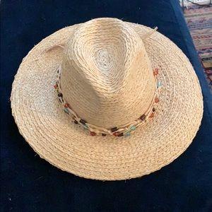 Zara straw hat with beads around brim